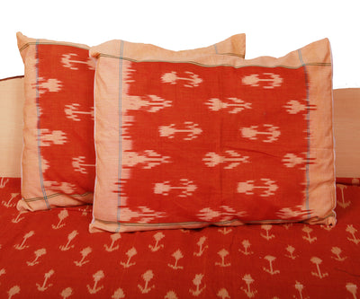 Orange Red Handwoven Pochmpally Bedsheet