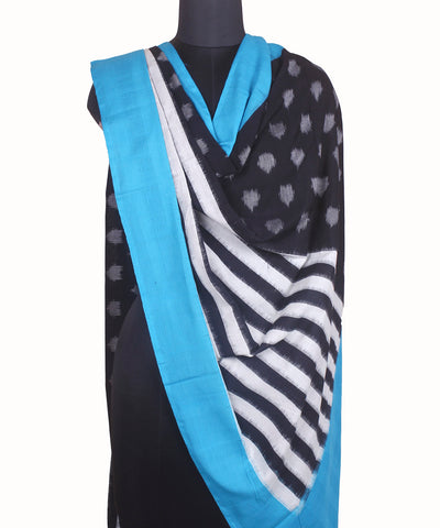 Ikat Sky Blue Handloom Cotton Dupatta
