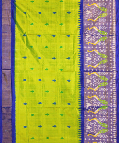 Handloom Lime Blue Ikat Rajkot Silk Saree
