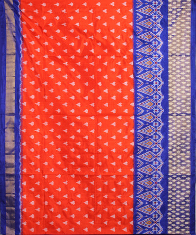 Handwoven Orange Ikat Rajkot Silk Saree