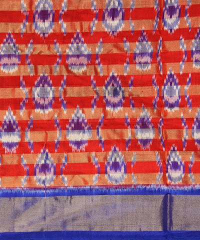 Red Blue Handloom Ikat Rajkot Silk Saree