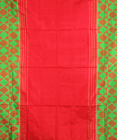 Handloom Dark Red Ikat Rajkot Silk Saree