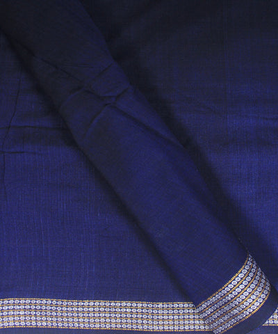 Handwoven Nuapatna Navy Blue Cotton Fabric