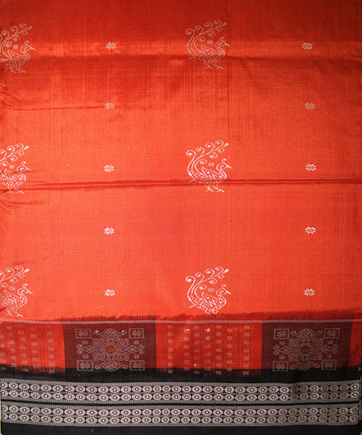 Handwoven Bomkai Silk Saree of Sonepur in Rust and Black