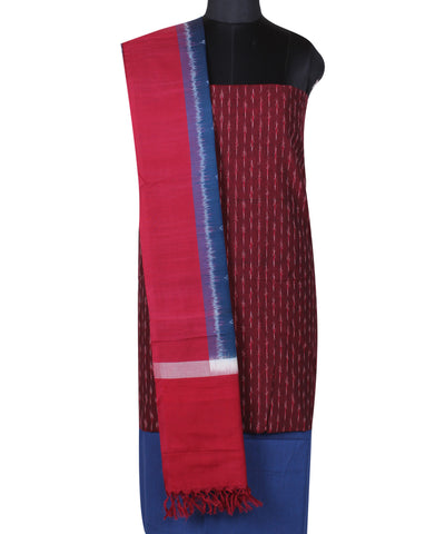 Maroon Handloom Ikat Cotton Dress Material