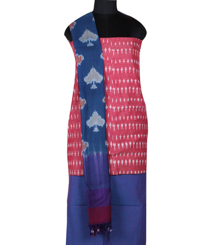 Handloom Light Red Ikat Cotton Dress Material