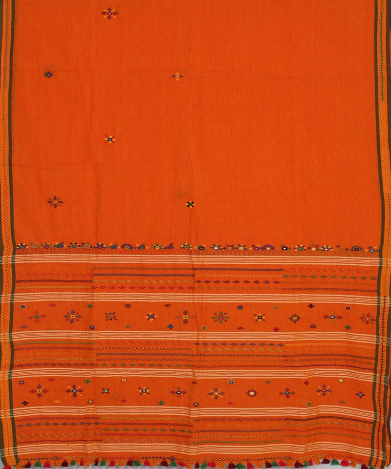 Orange Hand Embroidery Handloom Cotton Saree