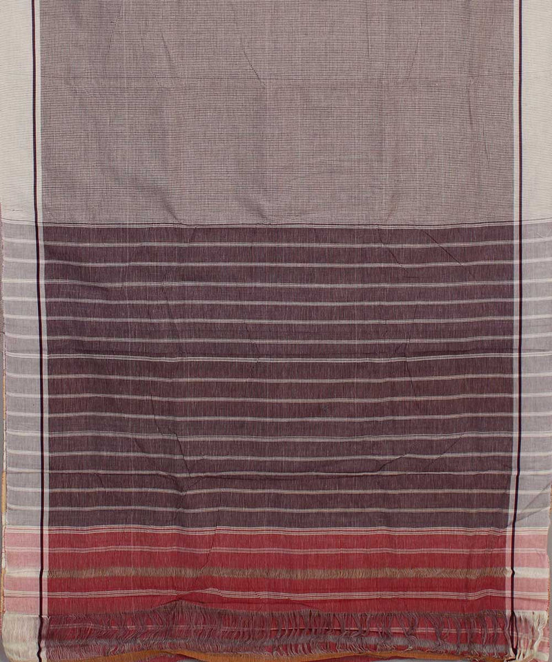 Off White Patteda Anchu Checks Handloom Saree