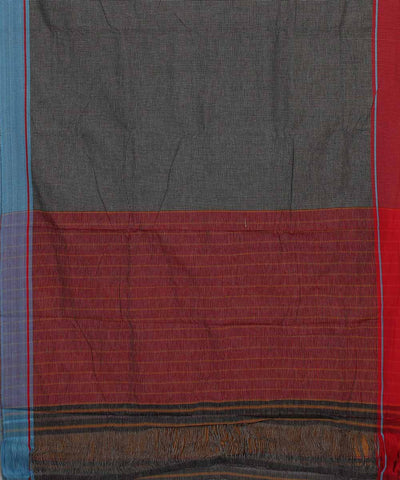 Patteda Anchu Checks Grey Handloom Saree