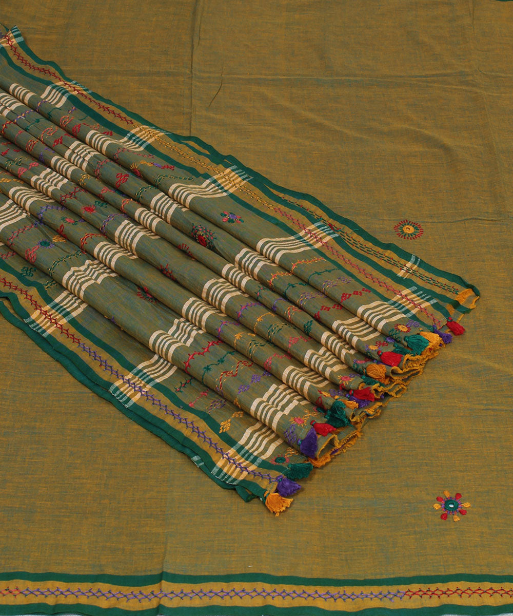 Double Shaded Hand Embroidery Cotton Saree