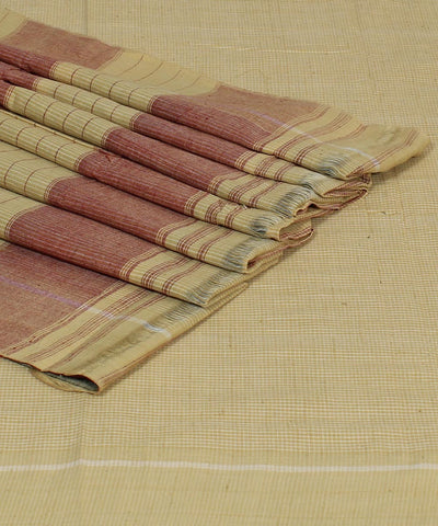 Cream Checks Patteda Anchu Handloom Saree