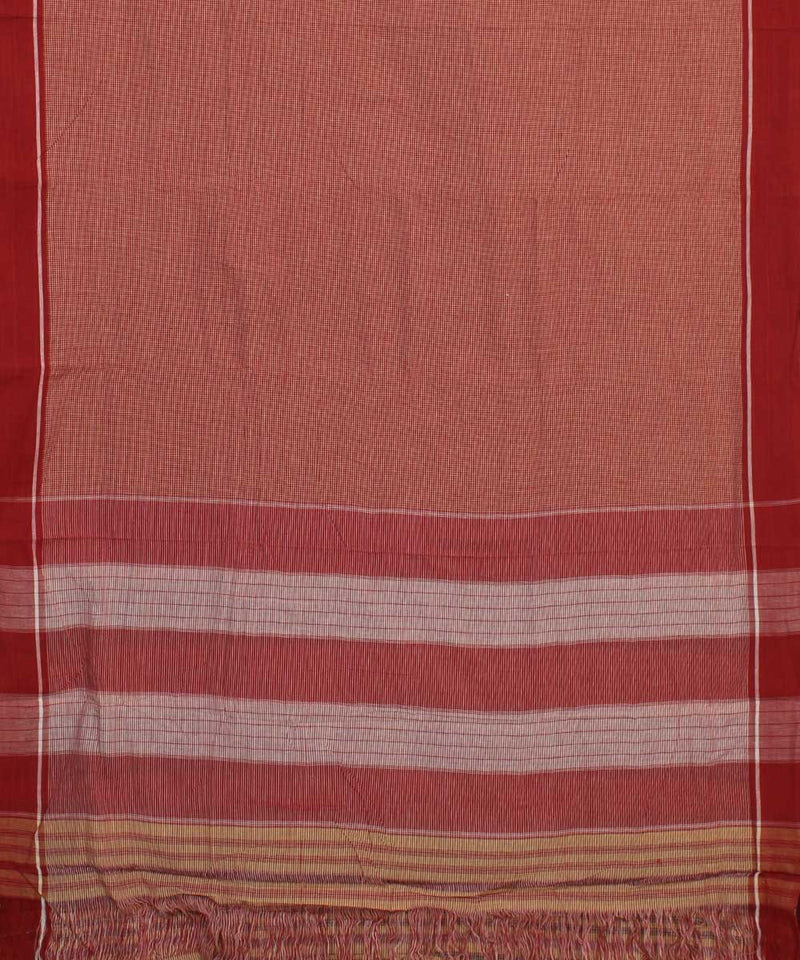 Patteda Anchu Red Brown Checks Handloom Saree