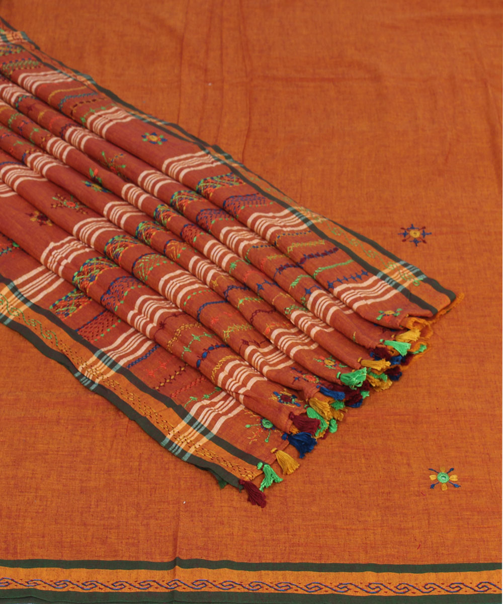 Brown Orange Hand Embroidery Cotton Saree