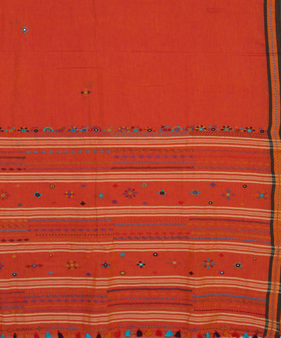 Bright Orange Hand Embroidery Cotton Saree