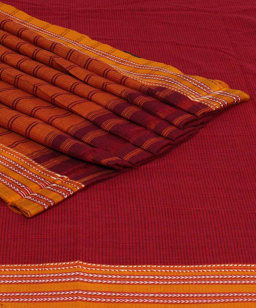 Patteda Anchu Red Gomi Border Handloom Saree