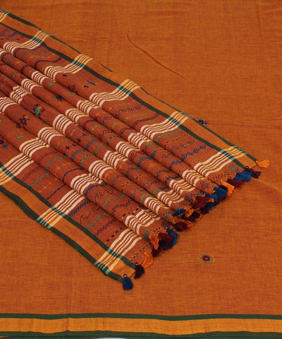 Brown Hand Embroidery Handloom Cotton Saree