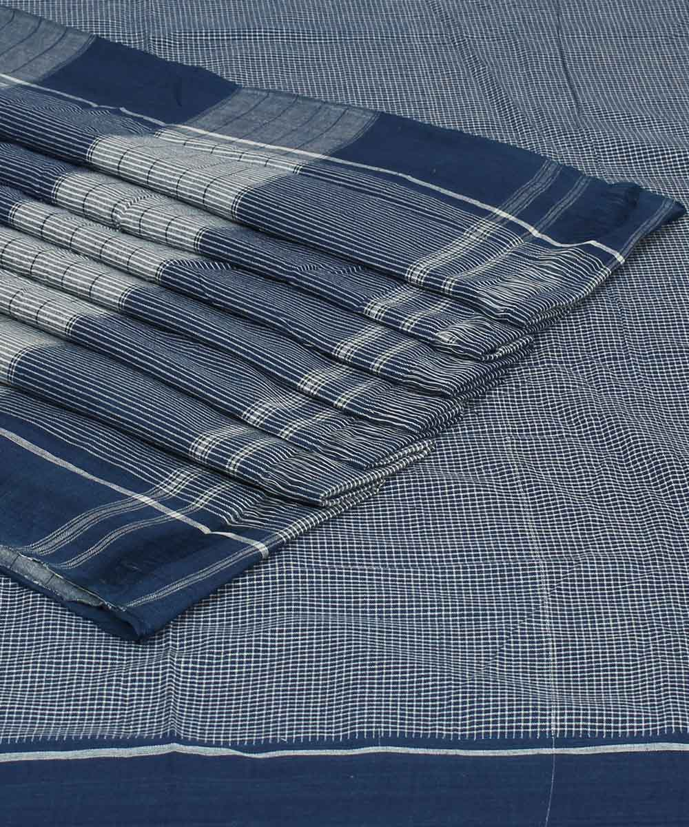 Blue Checks Patteda Anchu Handloom Saree