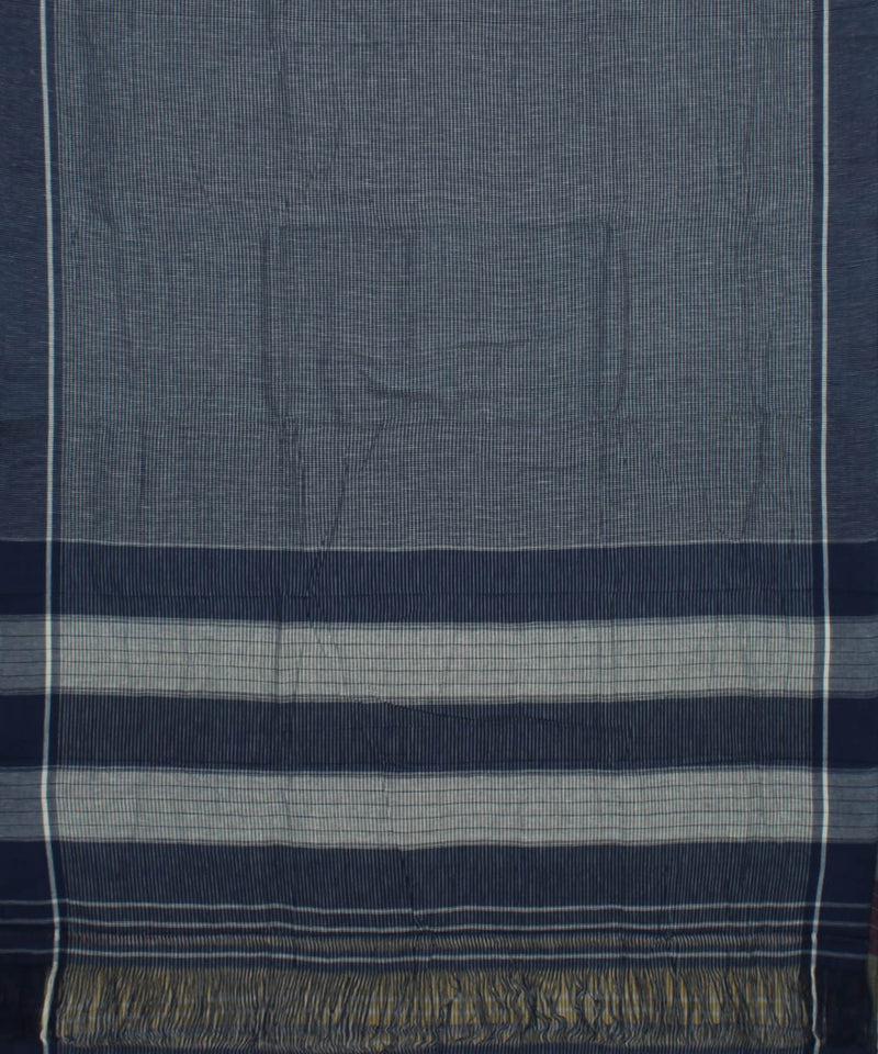 Blue Grey Checks Patteda Anchu Handloom Saree