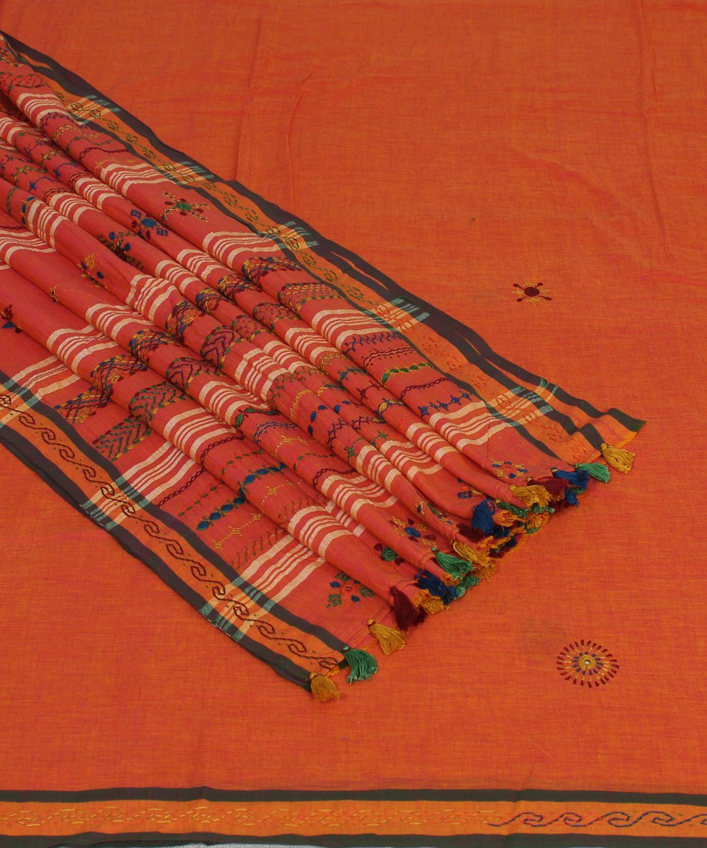 Bright Red Orange Embroidery Cotton Saree