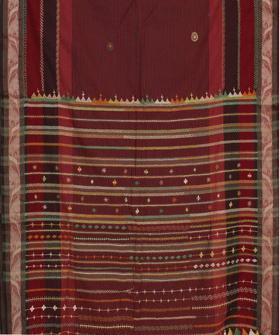 Maroon Hand Embroidery Kanchi Cotton Saree