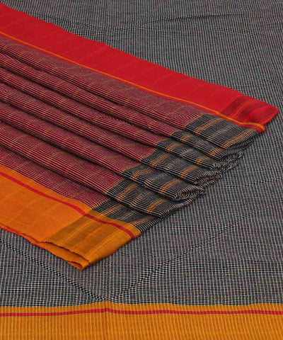 Grey Checks Handloom Patteda Anchu Saree