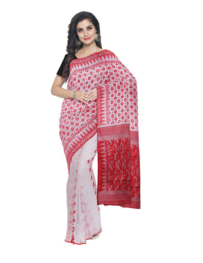 Handloom White and Red Bengal Jamdani Saree