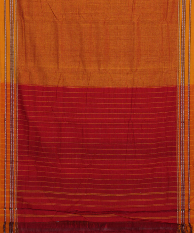 Handloom Mustard Orange Hubli Cotton Saree
