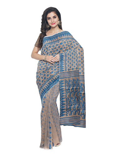 Handloom Blue and Beige Bengal Jamdani Saree