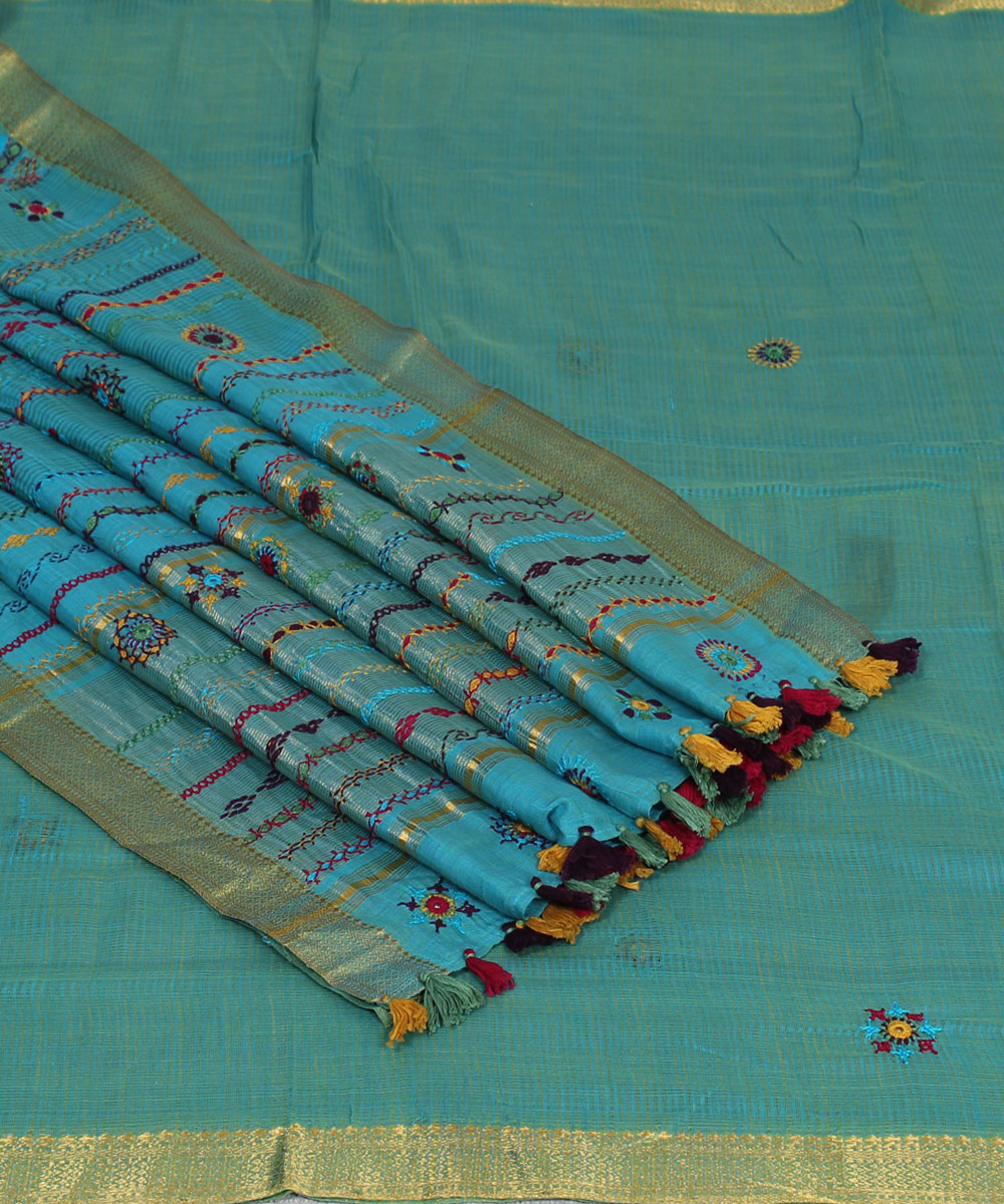 Blue Hand Embroidery Kanchi Cotton Saree