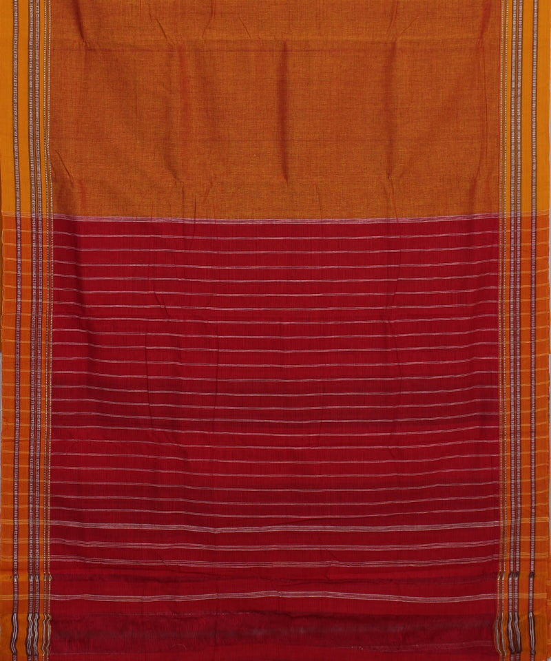 Handloom Orange Hubli Cotton Saree