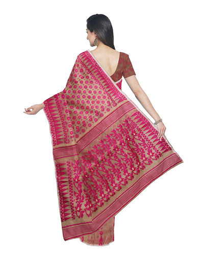 Handloom Brown and Pink Jamdani Saree