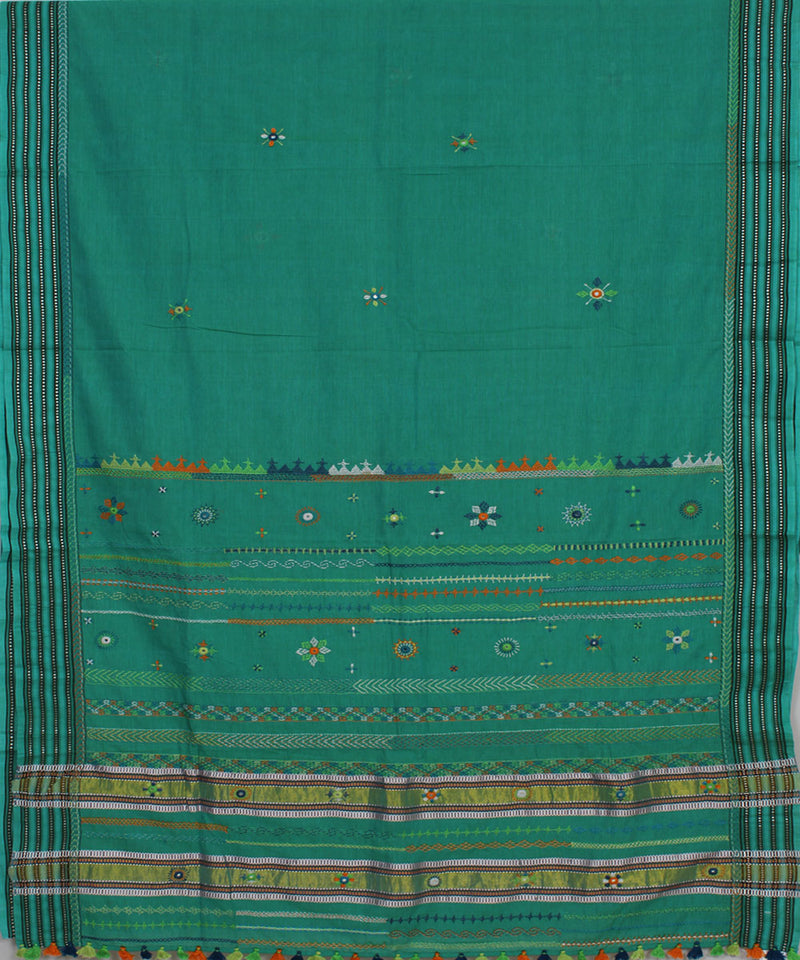 Cyan Blue Hand Embroidery Kanchi Cotton Saree