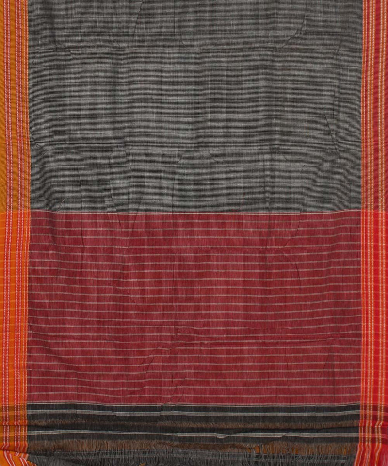 Grey Check Patteda Anchu Gomi Handloom Saree