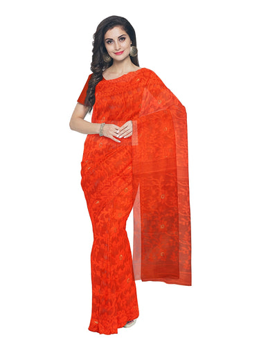 Handloom Orange Bengal Jamdani Saree