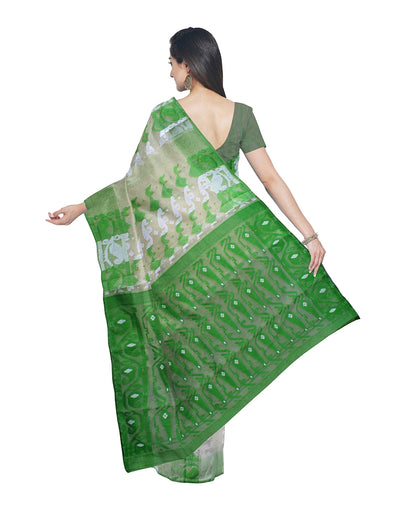 Handloom Cream and Green Bengal Jamdani Saree