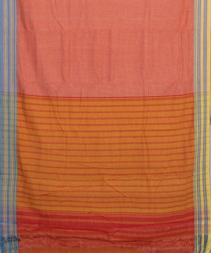 Patteda Anchu Gomi Teni Peach Handloom Saree