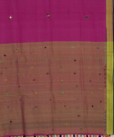 Pink Purple Hand Embroidery Cotton Saree