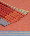 Patteda Anchu Peach Gomi Teni Handloom Saree