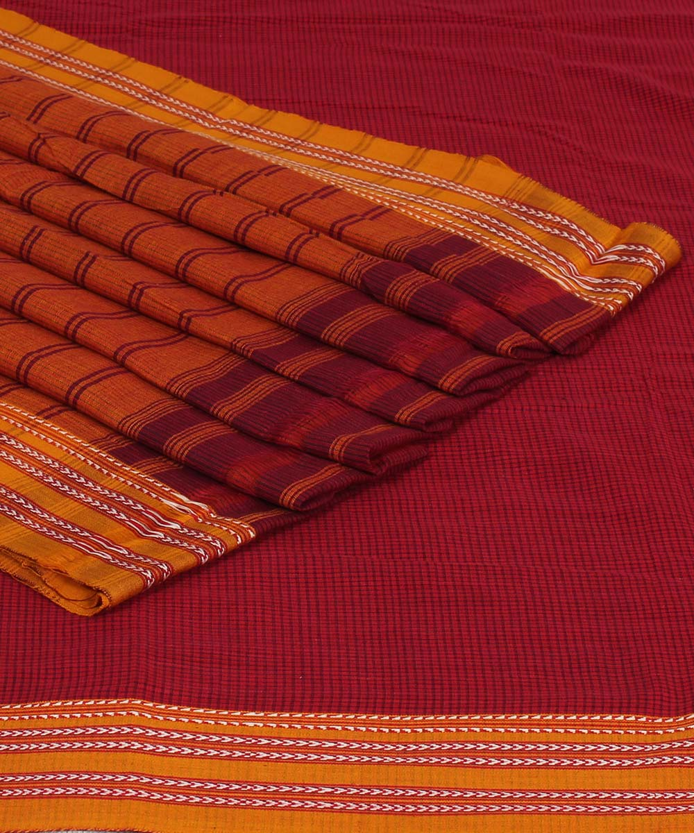 Patteda Anchu Red Checks Gomi Handloom Saree