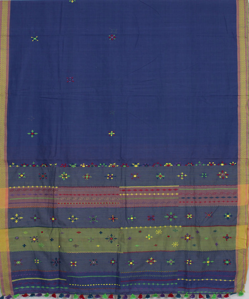 Navy Blue Hand Embroidery Kanchi Cotton Saree