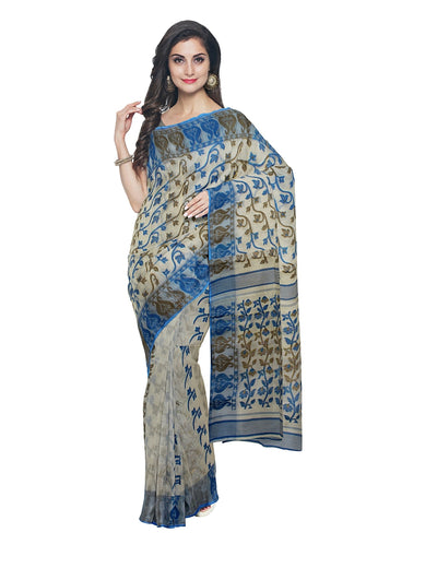Handloom Beige and Blue Bengal Jamdani Saree