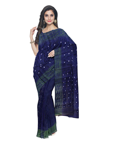 Handloom Dark Blue Jamdani Bengal Saree