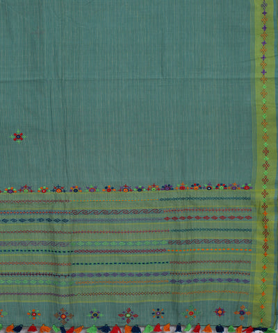 Teal Blue Kanchi Cotton Hand Embroidery Saree
