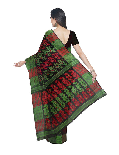 Handloom Black and Green Bengal Jamdani Saree