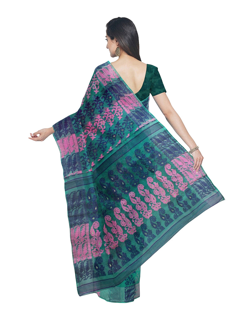 Handloom Teal Green Jamdani Bengal Saree
