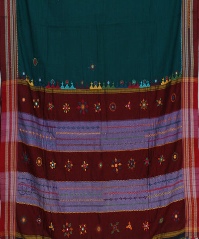 Blue Green Hand Embroidery Ilkal Saree