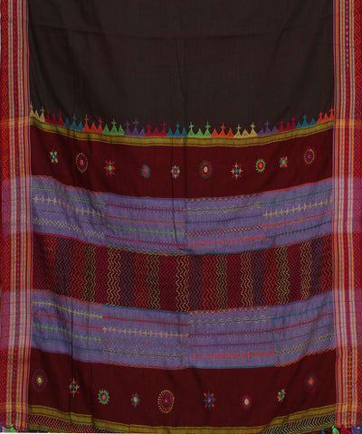 Dark Brown Ilkal Hand Embroidery Saree
