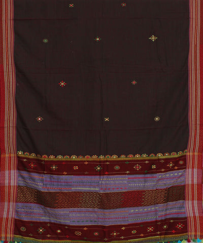 Hand Embroidery Dark Brown Ilkal Saree