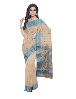 Handloom Beige Bengal Jamdani Cotton Saree