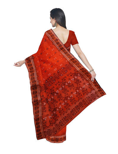 Handloom Coquelicot Red Jamdani Cotton Saree